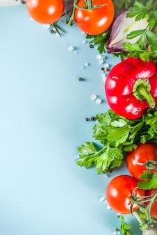 新鮮な野菜とハーブの料理の背景