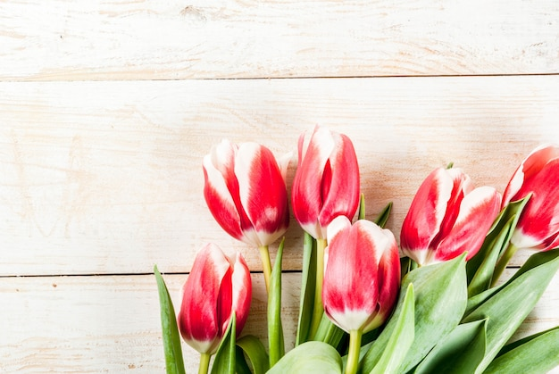 お祝いグリーティングカードの背景白い木製の背景に新鮮な春のチューリップの花