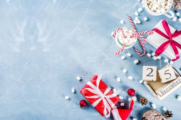伝統的な食べ物のクリスマスシーン
