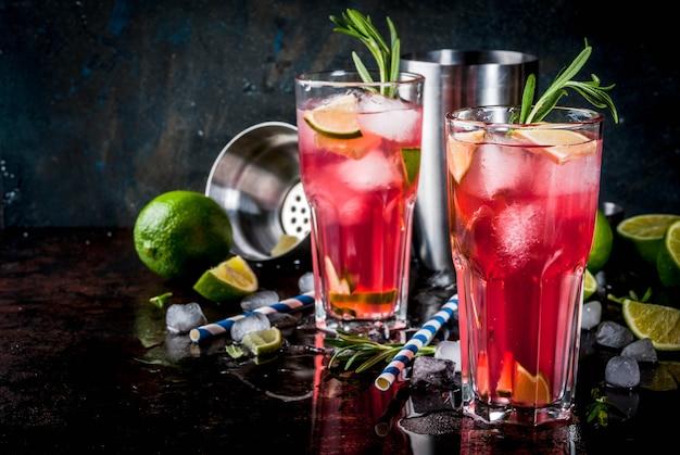 ローズマリーと氷を使った爽やかなアルコールレッドクランベリーとライムのカクテル