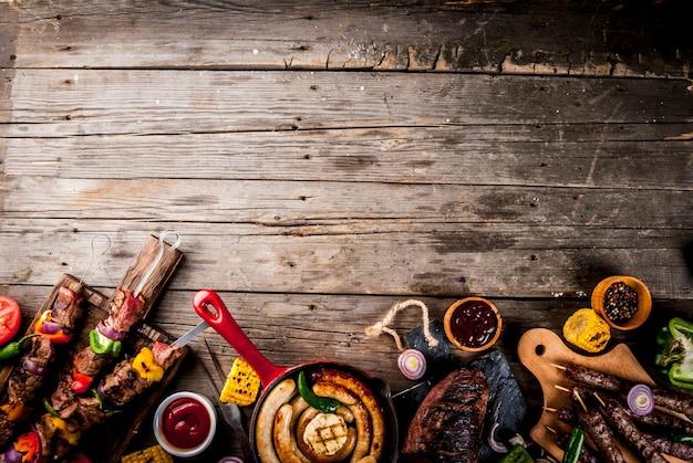 各種各種バーベキュー料理グリル肉バーベキューパーティーフェスト