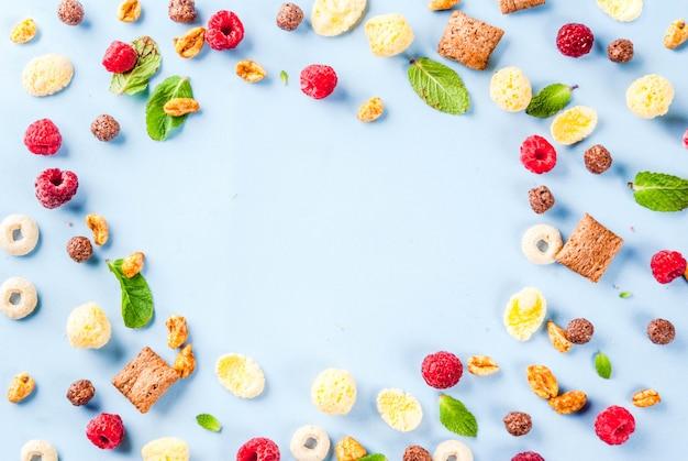 健康的な朝食の食材のコンセプト。さまざまな朝食用シリアル、ラズベリー、ミントに青色の背景、コピースペーストップビューフレーム