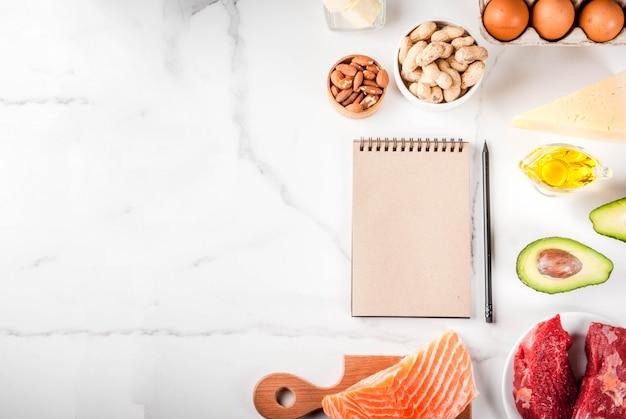 Кетогенная концепция диеты с низким содержанием углеводов. здоровое сбалансированное питание с высоким содержанием полезных жиров.