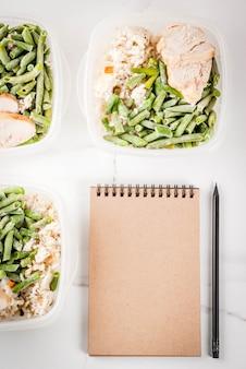 食品管理、食事概念、オルソリシス。健康的なバランスの取れた食事、仕事のための自家製ランチ、