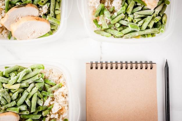 食品管理、食事概念、オルソリシス。健康的なバランスの取れた食事