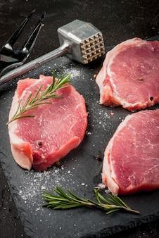 新鮮な生豚肉、ステーキ