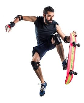 スケートボードジャンプの男