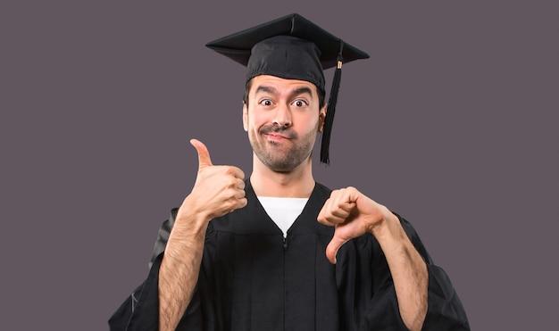彼の卒業式の日の男大学は良い悪い看板を作る