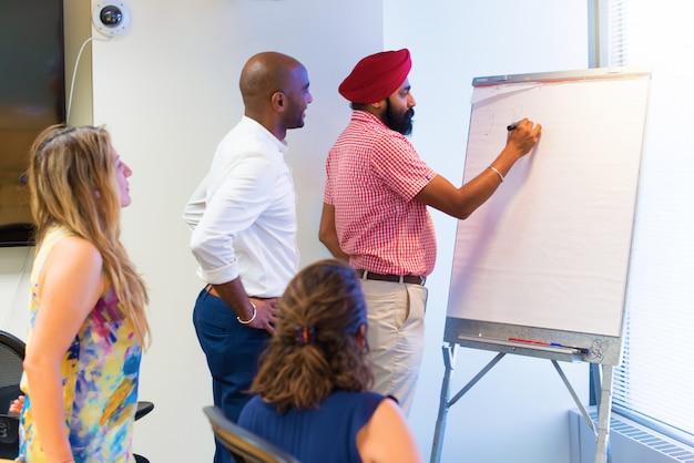 オフィスの執筆の異なる民族ビジネスマンチームによって形成された事業チーム