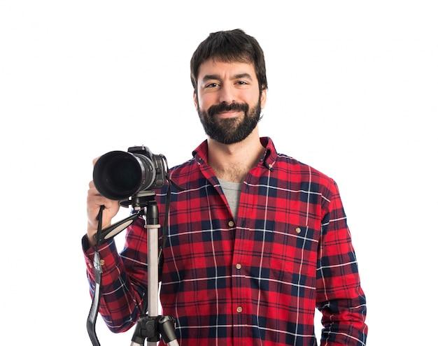 白背景上の写真家