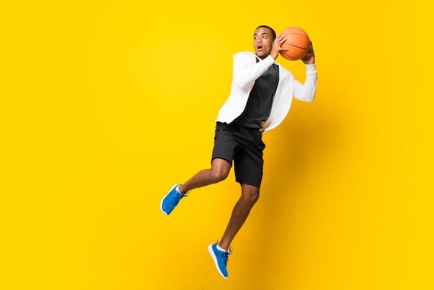 アフロアメリカンバスケットボール選手男