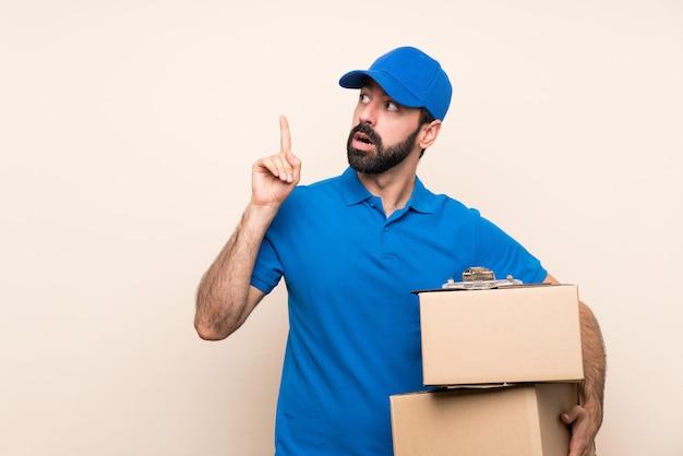 指を上向きのアイデアを考えてひげの配達人