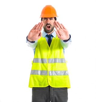 労働者、停止、サイン、白、背景