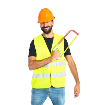 白い背景の上に弓打ち労働者