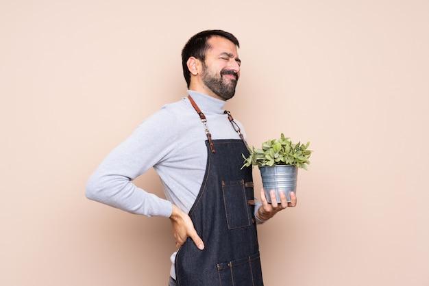Мужчина держит растение, страдающее от боли в спине за то, что он приложил усилие