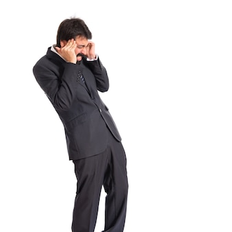 Разочарованный бизнесмен на изолированные белом фоне