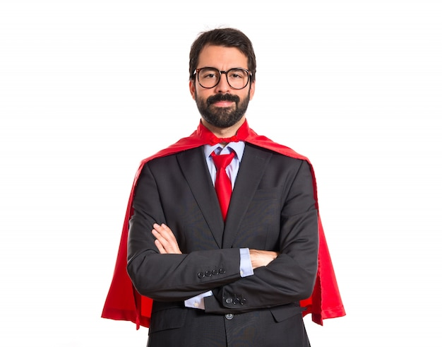 スーパーマンのような服を着た実業家