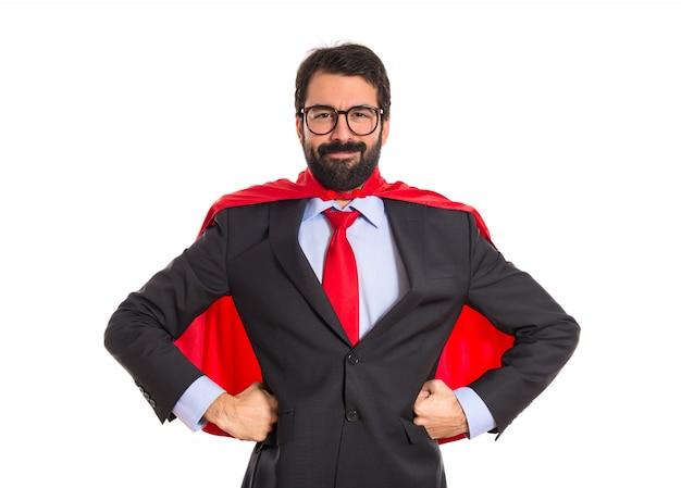 Бизнесмен одет как супергерой