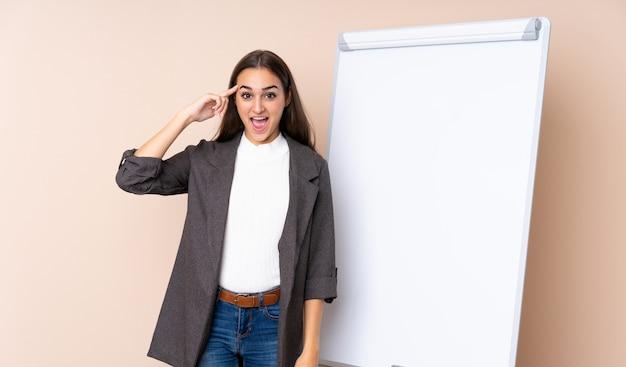 解決策を実現するつもりのホワイトボードでプレゼンテーションを行う若い女性