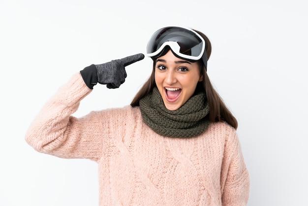 Девушка-лыжница в сноубордических очках над белой стеной, решившая реализовать решение