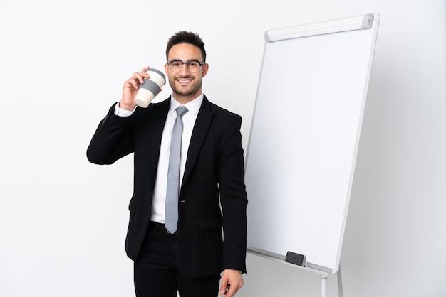 ホワイトボードにプレゼンテーションの実業家