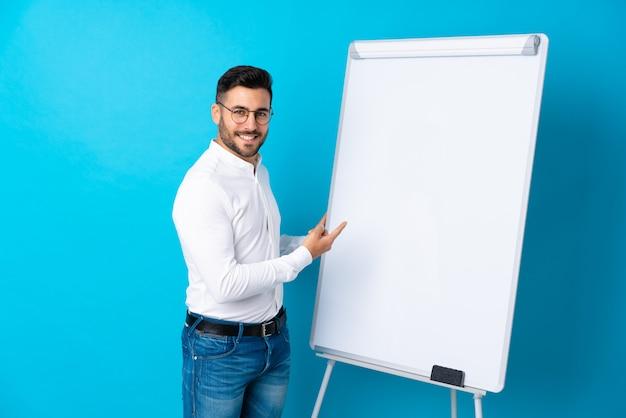 Бизнесмен, презентации на белой доске, презентации на белой доске