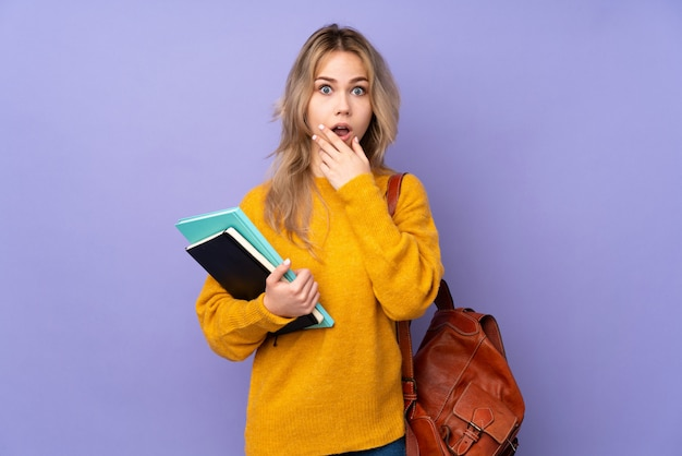 紫色の壁にティーンエイジャーの学生の女の子は右を見ながら驚いてショックを受けた