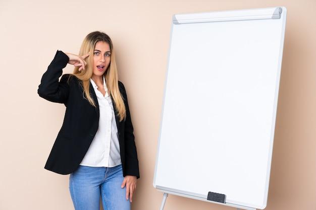 Молодая женщина дает представление на белой доске и намеревается реализовать решение