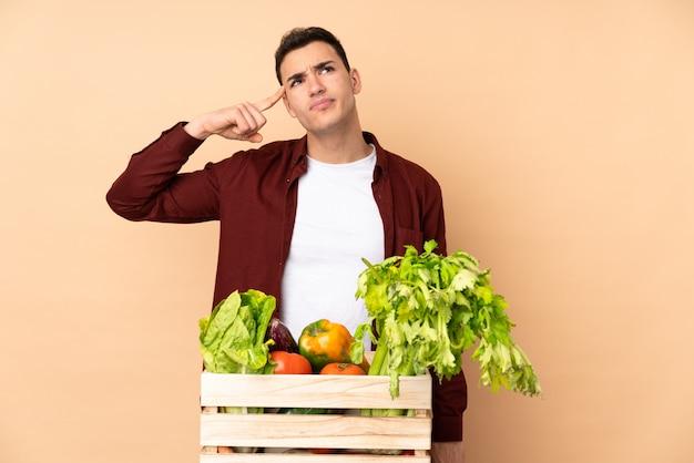 Фермер со свежесобранными овощами в коробке на бежевом, делая жест безумия, положив палец на голову