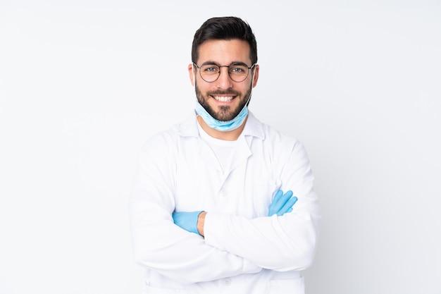 孤立した白い背景の上の医者男