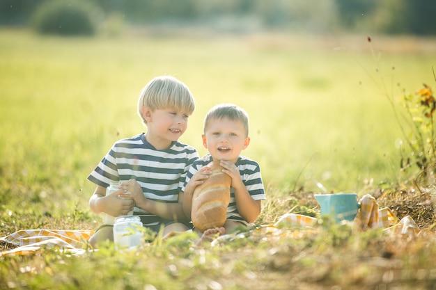 牧草地でのピクニックでかわいい子供たち