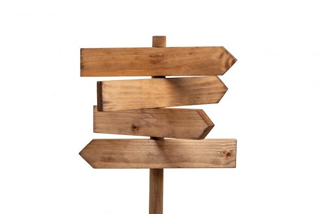 白で隔離される木製看板ポスト。