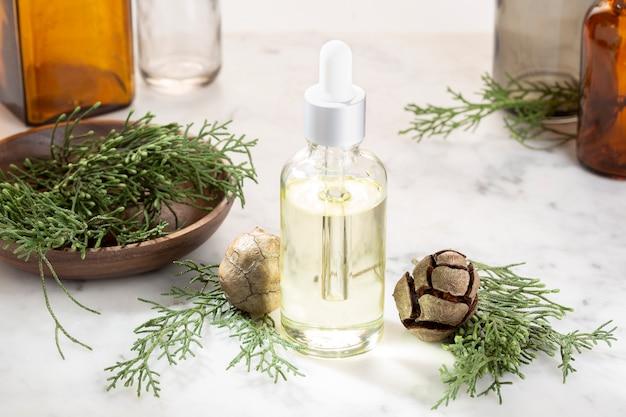 サイプレスエッセンシャルオイルが分離されました。美容、スキンケア、健康のためのボトルにサイプレスオイル。代替医療