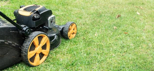 緑の芝生の芝刈機