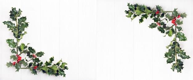白い木の赤い果実と伝統的なクリスマスヒイラギ