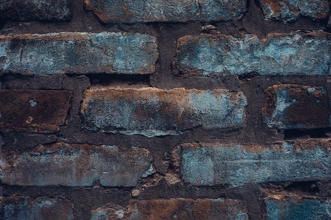 ラフなデニム風のレンガの壁。ビンテージの素朴なテクスチャ背景