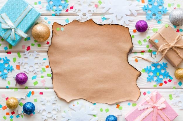 ウィッシュリスト、クリスマスのおもちゃ、ギフトの紙吹雪