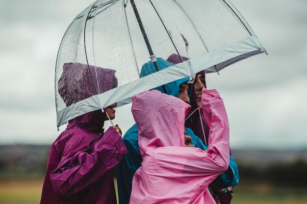 Группа детей, одетых в дождевые плащи, гуляет и играет на улице с зонтиком в дождливый день на их полевой приключенческой прогулке