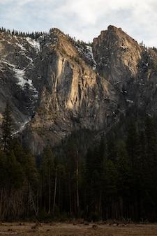アメリカ合衆国、カリフォルニア州のヨセミテ国立公園のカテドラルロックスイーストからの眺め。