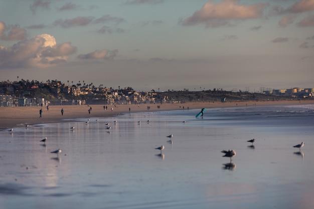 Вид с пляжа санта-моника в лос-анджелесе, штат калифорния