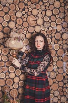 農村木造住宅のクリスマスカップル