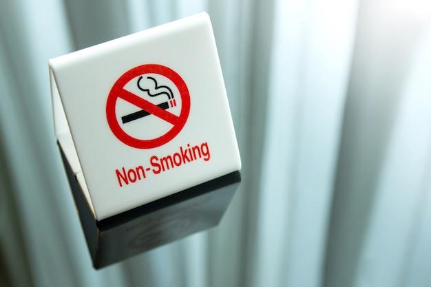 ベッドルームのテーブルに禁煙看板