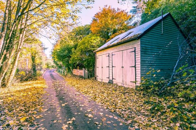 道路と納屋のある秋の風景