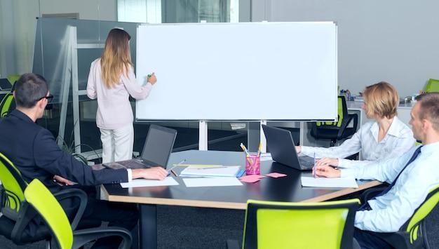 ビジネスの女性は、オフィスでプレゼンテーションを保持しています。