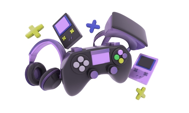 カラフルなビデオゲームコントローラー、ヘッドフォン、ゲームコンソールの背景イラスト、レンダリング