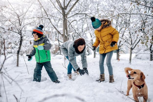 Семья с собакой, играя в снегу