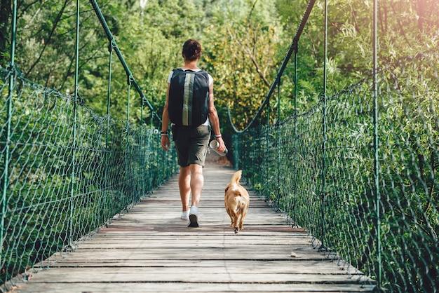 Женщины и собака гуляют по деревянному висячему мосту