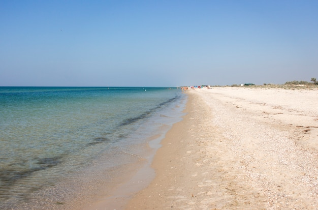 ウクライナ南部のヘルソン地方の海と砂浜の風景。コピースペース