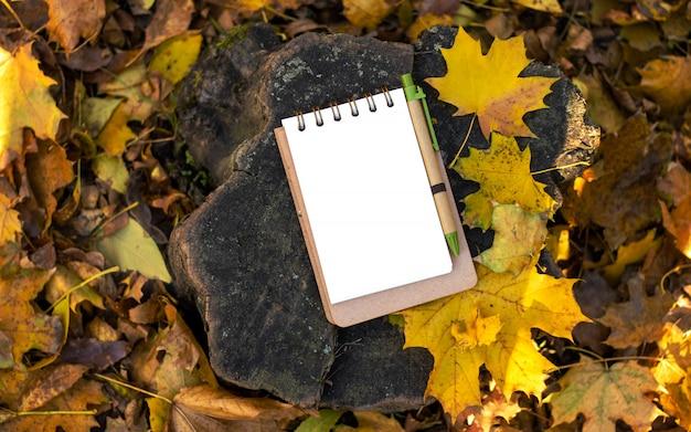 Крупный план тетради и ручки на деревянной пеньке. украшен осенними желтыми листьями и ветками.