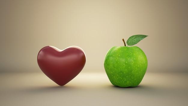 Красное сердце с зеленым яблоком.
